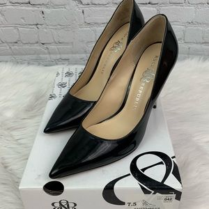 Rock & Republic Black Patent with Silver Heels